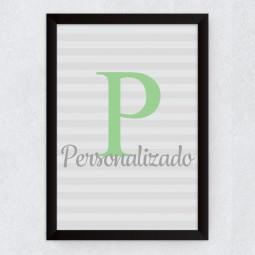 Quadro Decorativo Infantil Nome Personalizado Inicial Verde