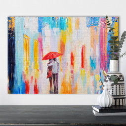 Quadro Decorativo Pintura Abstrata Casal em Cores - Em Canvas