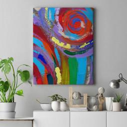 Quadro Decorativo Pintura Abstrata Espirais Coloridas - Em Canvas