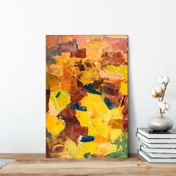 Quadro Decorativo Pintura Abstrata Tons de Amarelo e Marrom - Em Canvas