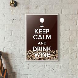 """Quadro Porta Rolhas de Vinho - """"Keep Calm And Drink Wine"""" (Moldura Branca)"""