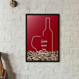 """Quadro Porta Rolhas de Vinho - """"Guardo Apenas Boas Lembranças"""" (Moldura Preta)"""