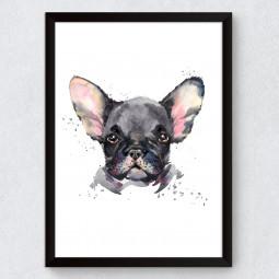 Quadro Decorativo Bulldog Francês Aquarela