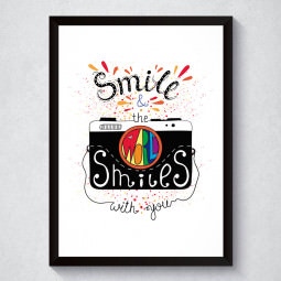 Quadro Decorativo Smile & The World Smiles With You