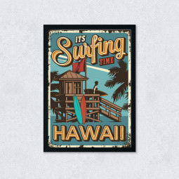 Quadro Decorativo Surfing Hawaii