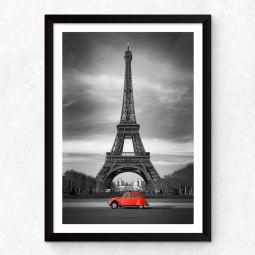 Quadro Decorativo Torre Eiffel Carro Vermelho