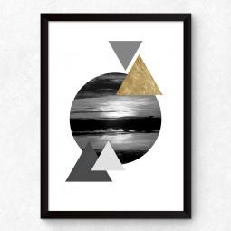 Quadro Decorativo Triângulos Por do Sol