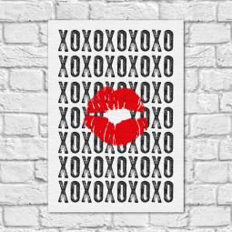 Quadro Decorativo XOXO - Beijos e Abraços - Em Canvas
