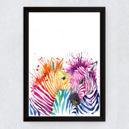 Quadro Decorativo Zebras Aquarela