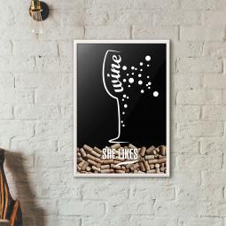 Quadro Porta Rolhas de Vinho - She Likes (Moldura Branca)