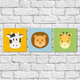 Conjunto de Quadros Decorativos Infantil Animais - Em Canvas