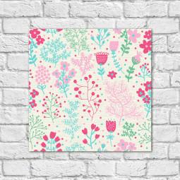 Quadro Decorativo Estampa Floral Delicada - Em Canvas