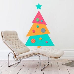 Adesivo de Parede Árvore de Natal Colorida