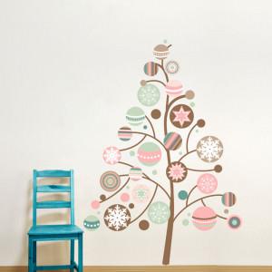 Adesivo de Parede Árvore de Natal com Bolas Coloridas