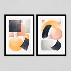 Conjunto de Quadros Decorativos Abstract Gold