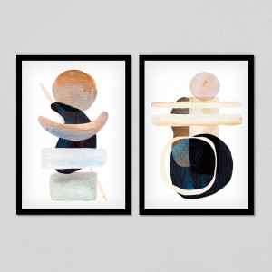 Conjunto de Quadros Decorativos Formas Abstratas (Tons de Cinza)