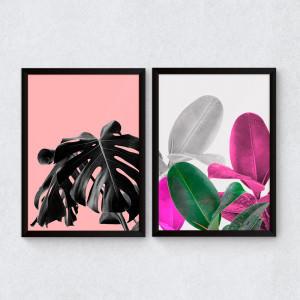Conjunto de Quadros Decorativos Tropical Rosa