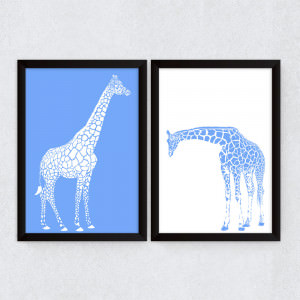 Conjunto de Quadros Decorativos Girafas Azul