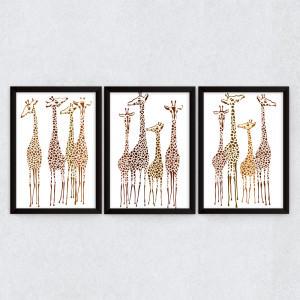 Conjunto de Quadros Decorativos Manada Girafas