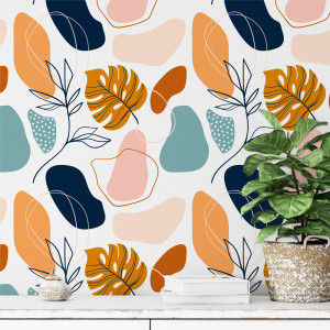 Papel De Parede Arte Floral Abstrata