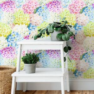 Papel De Parede Floral Hortênsias Coloridas Aquarela