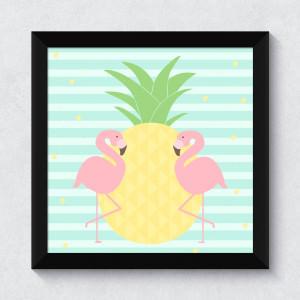 Quadrinho Decorativo Abacaxi e Flamingos