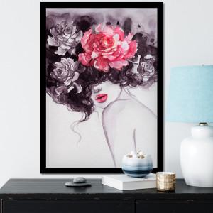 Quadro Decorativo com Imagem de Mulher Cabelo Flores Aquarela