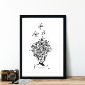 Quadro Decorativo Cabeça Feminina Flores