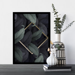 Quadro Decorativo Geométrico Folhas Tropicais