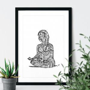 Quadro Decorativo Gestante Floral Meditando