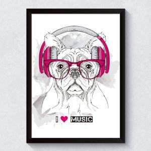 Quadro Decorativo Dog I Love Music