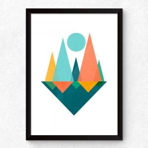 Quadro Decorativo Geométrico Triângulos Abstratos
