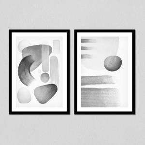 Conjunto de Quadros Decorativos Formas Abstratas (Verde Musgo)