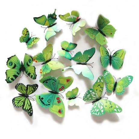 Borboletas 3D - Kit com 12 Unidades - Cor Verde