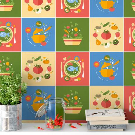 Adesivo para Azulejo Português Hidráulico Cozinha Comida Legumes Frutas