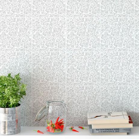 Adesivo para Azulejo Português Hidráulico Floral Cinza