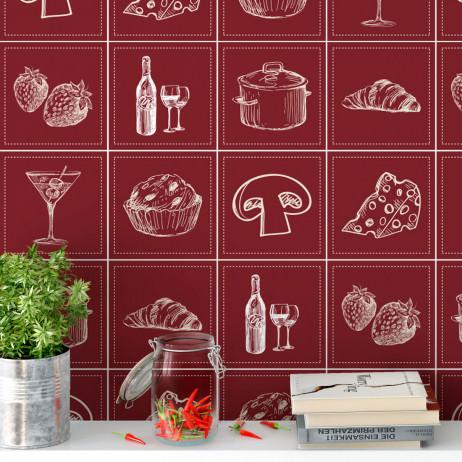 Adesivo para Azulejo Português Hidráulico Cozinha Gourmet Vinho Pães Queijo