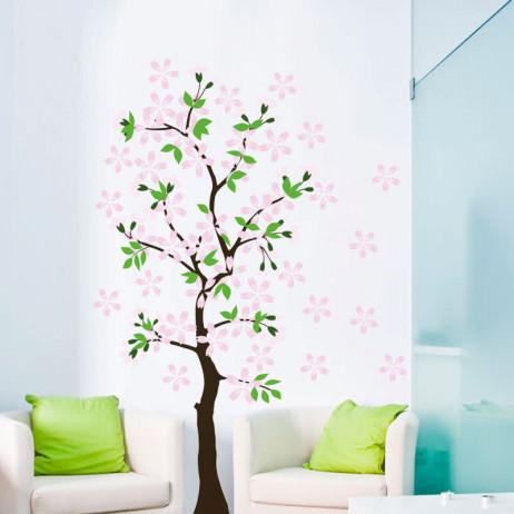 Adesivo de Parede Árvore Com Flores