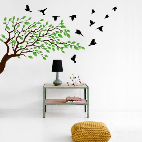 Adesivo de Parede Floral Galho e Pássaros