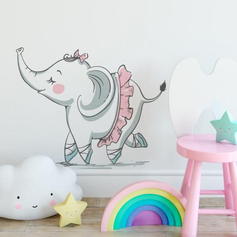 Adesivo de Parede Infantil Elefante Bailarina