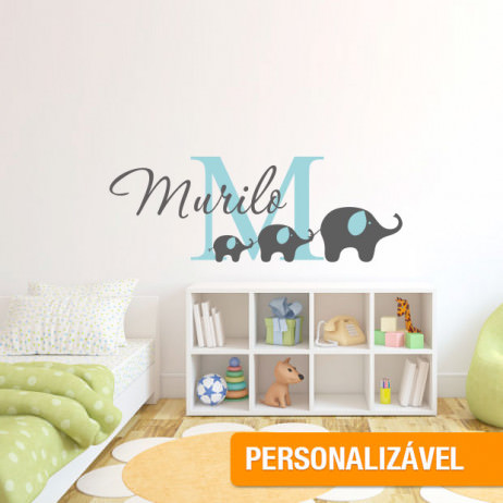 Adesivo de Parede Infantil Elefantes Como Nome Personalizado (Verde)