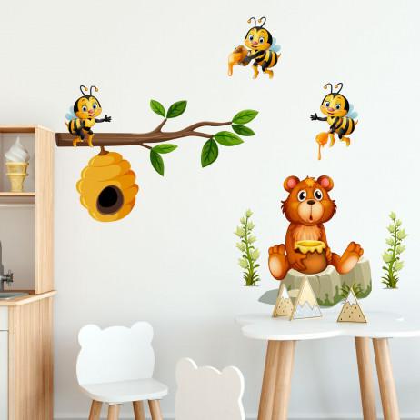 Adesivo de Parede Infantil Abelhas e Urso