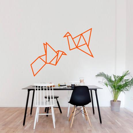 Adesivo de Parede Casal de Pássaros Origami