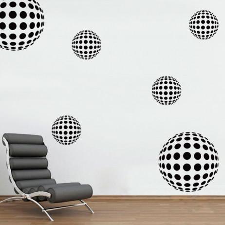 Adesivo de Parede Bolas 3D Abstrato