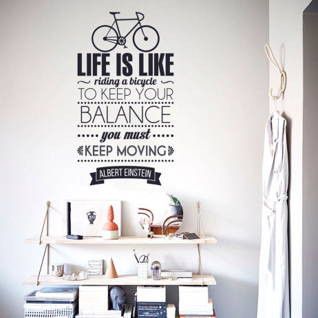 "Adesivo de Parede ""Life is Like Riding a Bicycle...."""