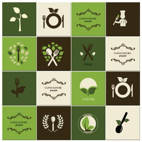 Adesivo para Azulejo Português Hidráulico Cozinha Verde Natural Orgânica