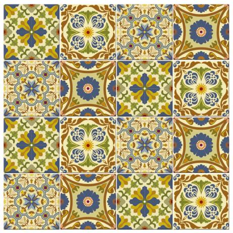 Adesivo para Azulejo Português Hidráulico Azul e verde