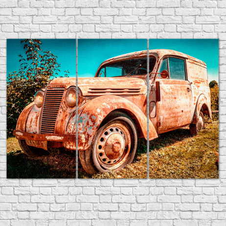 Conjunto de Quadros Decorativos Carro Antigo - Em Canvas
