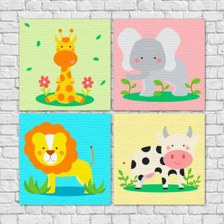 Conjunto de Quadros Decorativos Infantil Animais Divertidos - Em Canvas