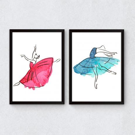 Conjunto de Quadros Decorativos Bailarinas Esboço